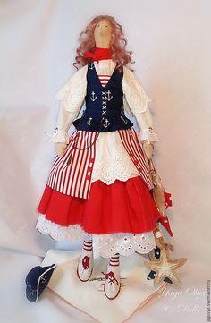 Купить Кукла Тильда МАРИНКА - море, тильда кукла, пиратка, морячка, красный цвет