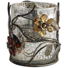 Metal & Glass Jeweled Flower Hurricane - US Plastic Patio Furniture, Patio Furniture Makeover, Pallet Patio Decks, Double Patio Doors, Small Covered Patio, Backyard String Lights, Sectional Patio Furniture, Vintage Patio, Cozy Patio