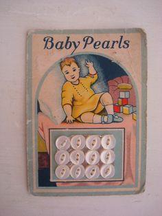 ButtonArtMuseum.com - Antique Tiny Baby Pearls Buttons on Original Color Graphic Store Card