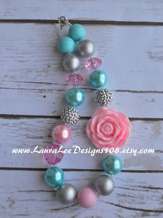 READY TO SHIP Pink Aqua and Silver Bubblegum by LauraLeeDesigns108