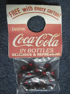 Vintage Coca Cola 1950's - 1960's Promotional Package of Marbles. Use to be attached to a bottle in your carton of Coke.