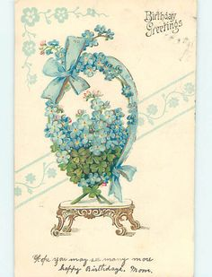 Pre-Linen art nouveau FORGET-ME-NOT FLOWERS WITH RIBBON ON PEDESTAL STAND HJ3644 | eBay