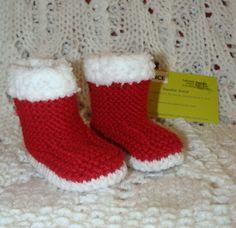 bottes chaussons bébé en laine rouge & fourrure blanche 3 à 6 mois : Mode Bébé par danielainetricots