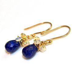 Lapis Lazuli Earrings Ethiopian Opal Earrings Wire by FizzCandy, $45.00