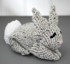 Hoppy Easter! This extra cute knit bunny pattern can be created using one stockinette square.