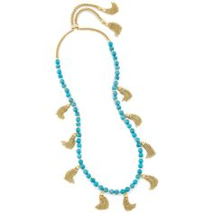 Kendra Scott Vanina Long Necklace in Turquoise (9,620 INR) ❤ liked on Polyvore featuring jewelry, necklaces, long turquoise necklace, turquoise necklace, beaded jewelry, beaded necklaces and beading necklaces