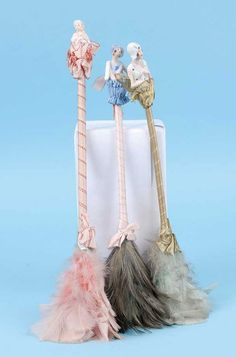 Porcelain Half Doll Boudoir Feather Dusters...for those bits of powder that wind up on your table...