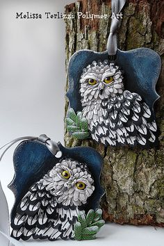 Snowy Owl polymer clay ornament | by melissa_terlizzi