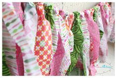 pink and green rag/fabric banner with bowtie by littledivaanddude, $45.00