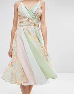 Image 3 of ASOS Soft Floral Color Block Midi Dress