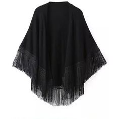 Relaxfeel Women's Fringed Cape Knitted Kimono Coat Black ($36) ❤ liked on Polyvore featuring outerwear, jackets, cardigans, tops, cape, black, black fringe kimono, black cloak, fringed cape and fringe kimono