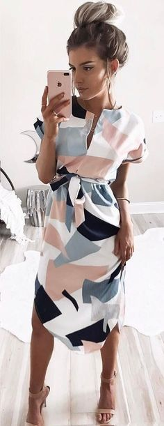 Awesome printed dress with nude sandals - LadyStyle