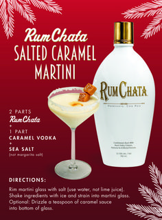 A cocktail recipe from RumChata for the Salted Caramel Martini, made with RumChata, caramel vodka, and sea salt. A must have for a tropical party! Rumchata Drinks, Rumchata Recipes, Liquor Drinks, Cocktail Drinks, Cocktail Recipes, Fireball Recipes, Beverages, Rum Chata Drinks Recipes, Rumchata Pudding Shots