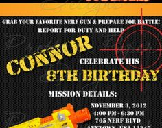 33 Best Boys Nerf War Birthday Party Invitations Images Birthday