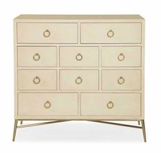 Salon Media Chest (341-118) by Bernhardt Hospitality 341-118  W 51-1/8 | D 19 | H 43-7/8 in. W 129.86 | D 48.26 | H 111.44 cm.  Maple veneers Alabaster finish Ten drawers Top drawers have drop fronts with cut-outs in drawer backs Corresponding holes with grommets in back panel for wire management Metal base Adjustable glides