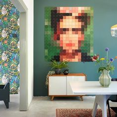 Frida Kahlo in XXL version. Its UV and humidity resistant material allows it to find its place everywhere in the house, even in the kitchen or the Power Trip, Van Gogh, Pixel 1, Sketches Tutorial, Designer Friends, Home And Deco, Color Shades, Illustration, Art Pieces