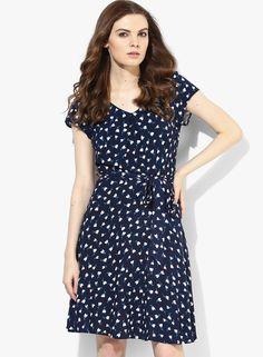 Navy Tulip Print Soft Dress