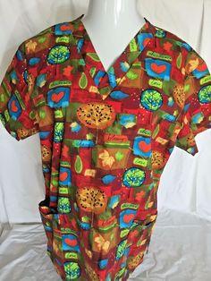 Scrub Top Large Autumn Blessings Joy Love Print Nurse Medical Uniform Fall Color…