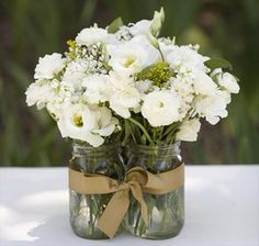 Cluster three mason jars together for a cute and full centerpiece