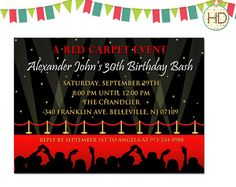 Hollywood theme Party Invitations
