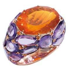 One-of-a-kind ring from the Pom Pom collection - purple sapphires and orange sapphires