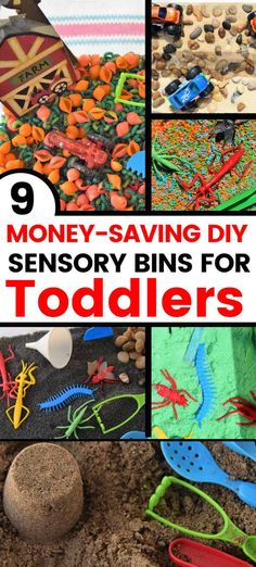 9 Easy Sensory Bins For Toddlers. Your toddler will be entertained and kept busy with these sensory play ideas. Learn how to make colored rice, edible sand, colored sand, moldable sand (sticky sand or moon sand), colored beans and colored oats. We offer several examples of sensory bins including bugs, sea life, shells, monster trucks and more. #sensorybins #toddleractivities Edible Sensory Play, Sensory Bags, Colored Rice, Colored Sand, Edible Sand, Sand Table, Play Ideas, Toddler Activities, Bugs