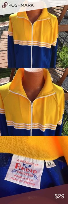 Vintage 1970's Andia Track Jacket Zippered Mens XL Size XL. Zippers in good working order. Elastic in Waist in good condition. Old school polyester. Be sure to view the other items in our closet. We offer both women's and Mens items in a variety of sizes. Bundle and save!! Thank you for viewing our item!! Andia Jackets & Coats Lightweight & Shirt Jackets