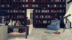 not sure what i like best about this room.. the endless shelves, the huge rug, or the telescope