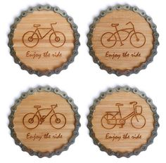 ENJOY THE RIDE! This set of four coasters features four unique bikes engraved on bamboo and wrapped in recycled bike chain.