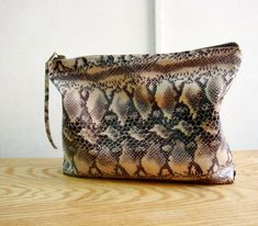 Oversized Snake Print Real Leather Clutch Bag by faima on Etsy, $55.00