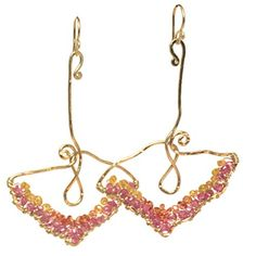 """Luxe Bijoux Earrings Hammered Lotus Flower Shapes Wrapped Withorange Sapphire And Pink Ruby, Abut 2 - 1/2"""" Long, Metal - Rose Gold US Gems http://www.amazon.com/dp/B00M7V1KT0/ref=cm_sw_r_pi_dp_1gc5tb1XJKM23"""