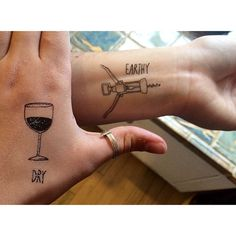 We are such children still. #sorrymom #justkiddingtheyrefake #tattoo #wine