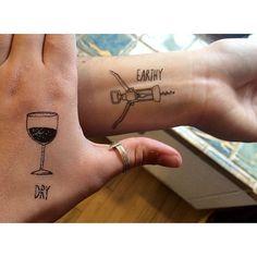We are such children still. #sorrymom #justkiddingtheyrefake #tattoo #wine