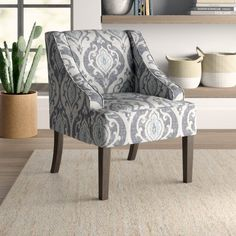 Mistana Adona Side Chair Upholstery Color: Antiqued Medallion Blue and Cream Swivel Barrel Chair, Living Room Arrangements, Parsons Chairs, Modern Rustic Interiors, Upholstered Dining Chairs, Chair Upholstery, Fashion Room, Accent Furniture, Side Chairs