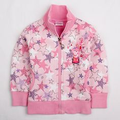 Peppa Pig Star Zip Up Jacket. Pink zip up jacket with cute star and Peppa Pig detail. Peppa Pig, Fall Outfits, Kids Outfits, Casual Outfits, Nova, Kids Dress Wear, Pink Zip Ups, Striped Jacket, Free Clothes