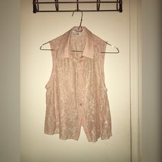 Petal pink lace top Forever 21 petal pink lace top. Has a little stain that is in one of the pictures! Willing to negotiate price! Forever 21 Tops Button Down Shirts