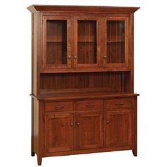 "60"" w x 81.25"" h x 19"" d Matching corner hutch and sideboard available Walnut pegs Your choice of wood and stain Ship lap back Antique Glass in doors Available in 2 or 4 door as well"