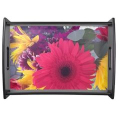 Party Entertaining Serving Tray With Flowers