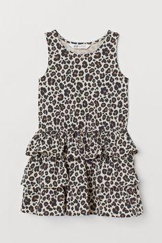 7326ae5a863b30 Tricot jurk met volants - Lichtbeige luipaardprint - KINDEREN