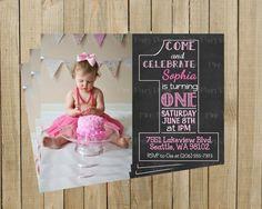 Vintage Chalkboard One First Birthday Invitation, Pink, Printable, Custom Digital File on Etsy, $12.00