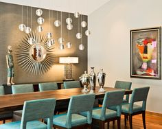 Dining Room Grey And Turquoise Design, Pictures, Remodel, Decor and Ideas - page 2