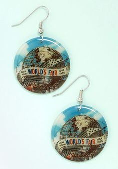 World's Fair Thee Well Earrings. Travel in style by accessorizing with these round earrings! #blueNaN