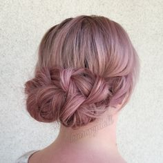 Dusty rose braided up do by @monicaprusa