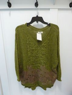 6deb3675d5c UMGEE USA Womens Olive Green Long Tunic Sweater W/Floral Applique~NWT~SIZE  SMALL #UMGEE #PulloverSweater