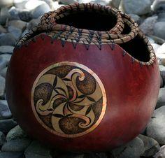 Celtic Spirals Triskele Pyrography Woodburning by JRAGourdArt