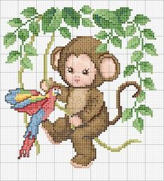 Monkey baby with parrot. Color pattern