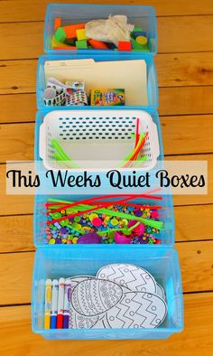 Weeks Quiet Boxes - How Wee Learn Fabulous quiet boxes activities for kids! This site has the best quiet time activities for preschoolersFabulous quiet boxes activities for kids! This site has the best quiet time activities for preschoolers Quiet Time Activities, Kids Learning Activities, Toddler Learning, Toddler Fun, Summer Activities For Preschoolers, Toddler Sensory Bins, 3 Year Old Activities, Toddler Busy Bags, School Age Activities