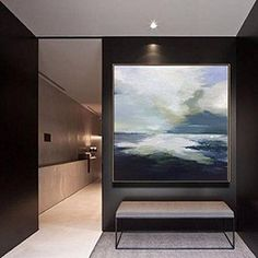 Paintings On Canvas Large Painting Original Oversize Painting Blue Painting Gray Painting White Painting Ocean Painting Landscape Painting Black And White Painting, Black And White Wall Art, Blue Painting, Large Painting, Painting Canvas, Turquoise Painting, Abstract Landscape Painting, Abstract Canvas Art, Blue Abstract