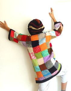 Rainbow Patchwork cardigan sweater coat hoodie costumes by aysev, $93.00
