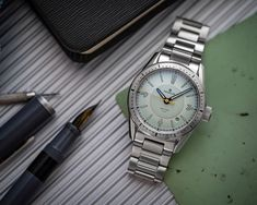 The Sector Dive is back in two flavors - Seafoam and Tidal! The Sector Dive is a modern interpretation of a skin diver -... Skin Diver, Quality Watches, Sea Foam, Rolex Watches, Modern, Accessories, Trendy Tree, Jewelry Accessories